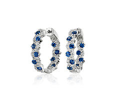 NEW Staggered Sapphire and Diamond Hoop Earrings in 14k White Gold