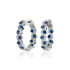 Staggered Sapphire and Diamond Hoop Earrings in 14k White Gold