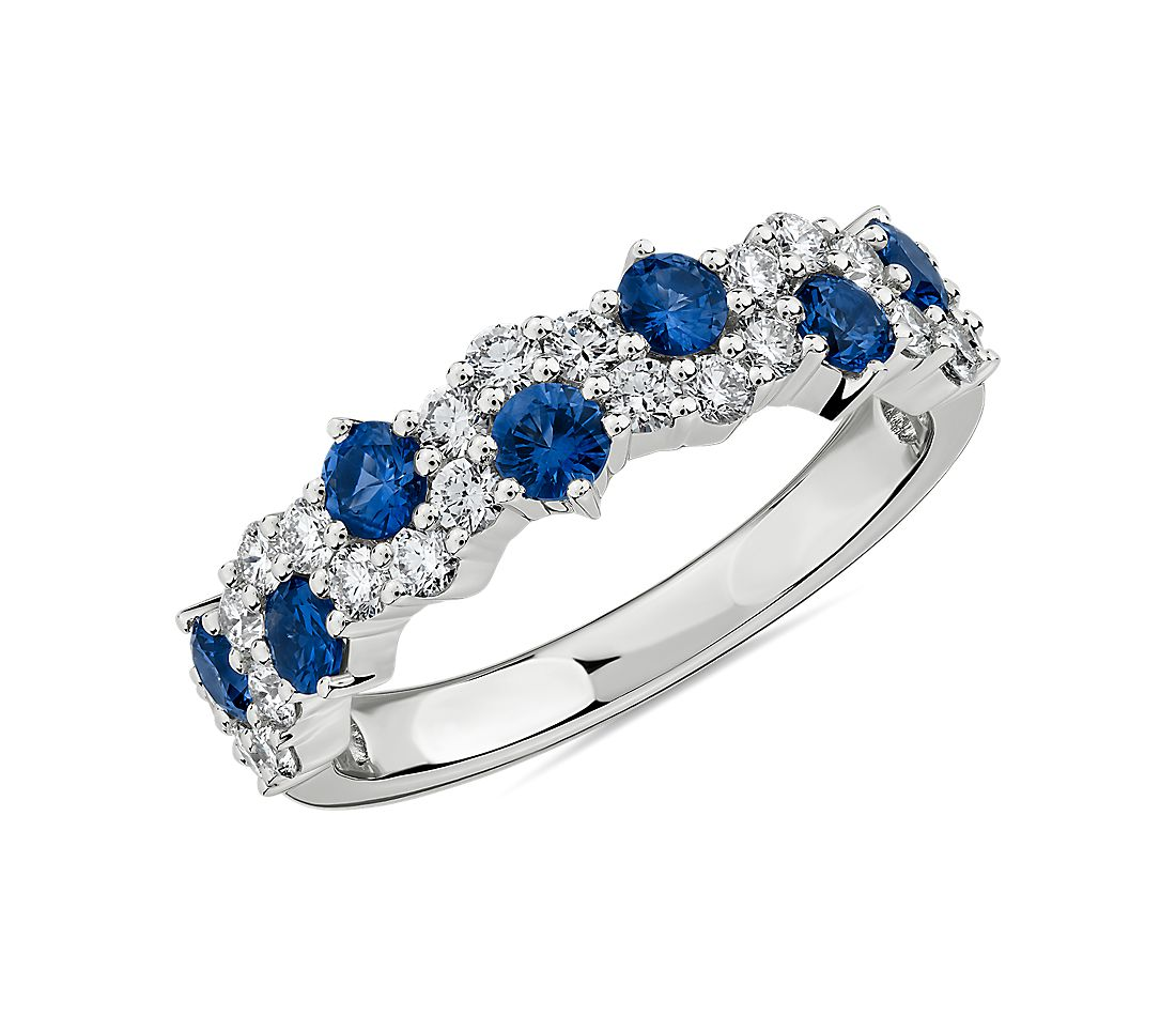 Staggered Sapphire and Diamond Ring in 14k White Gold