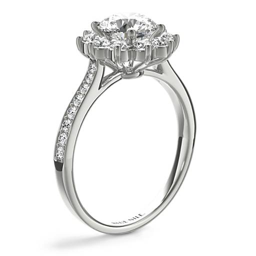 Starburst Floral Diamond Halo Engagement Ring