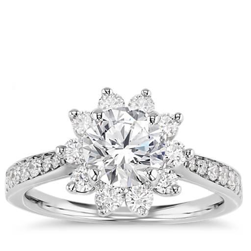 Starburst Floral Diamond Halo Engagement Ring In 14k White