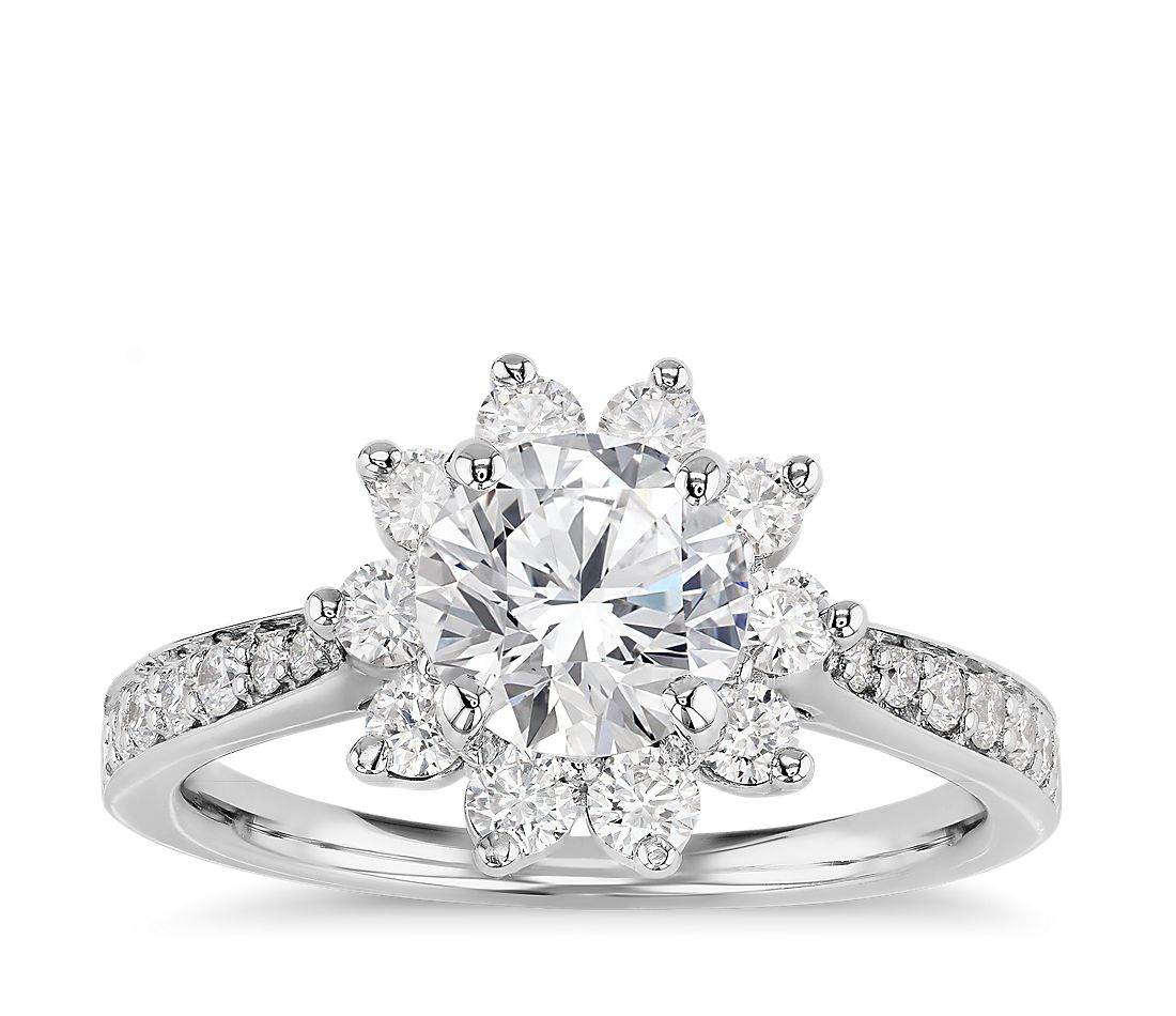 Starburst Floral Diamond Halo Engagement Ring In 14k White Gold 3