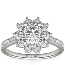 Starburst Floral Diamond Halo Engagement Ring in 14k White Gold (3/8 ct. wt.)