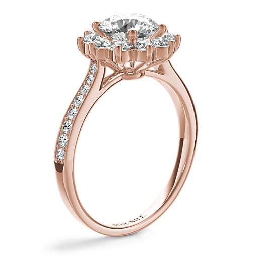 Starburst Floral Halo Diamond Engagement Ring