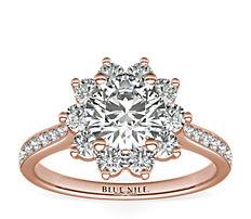 Starburst Floral Halo Diamond Engagement Ring in 14k Rose Gold (3/8 ct. tw.)