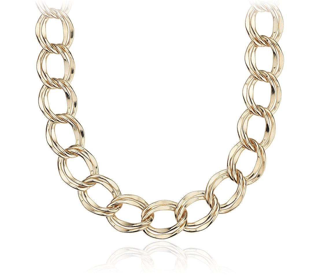 Statement Linked Necklace in Yellow Gold Vermeil