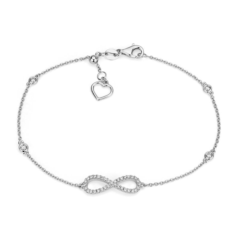 Diamond Station and Infinity Bracelet in 14k White Gold (1/4 ct.