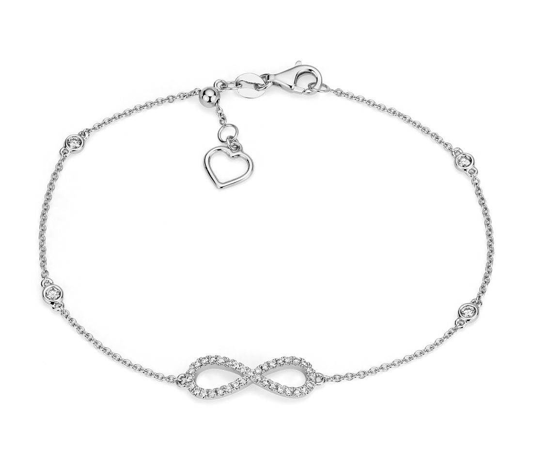 Diamond Station And Infinity Bracelet In 14k White Gold 1 4 Ct Tw