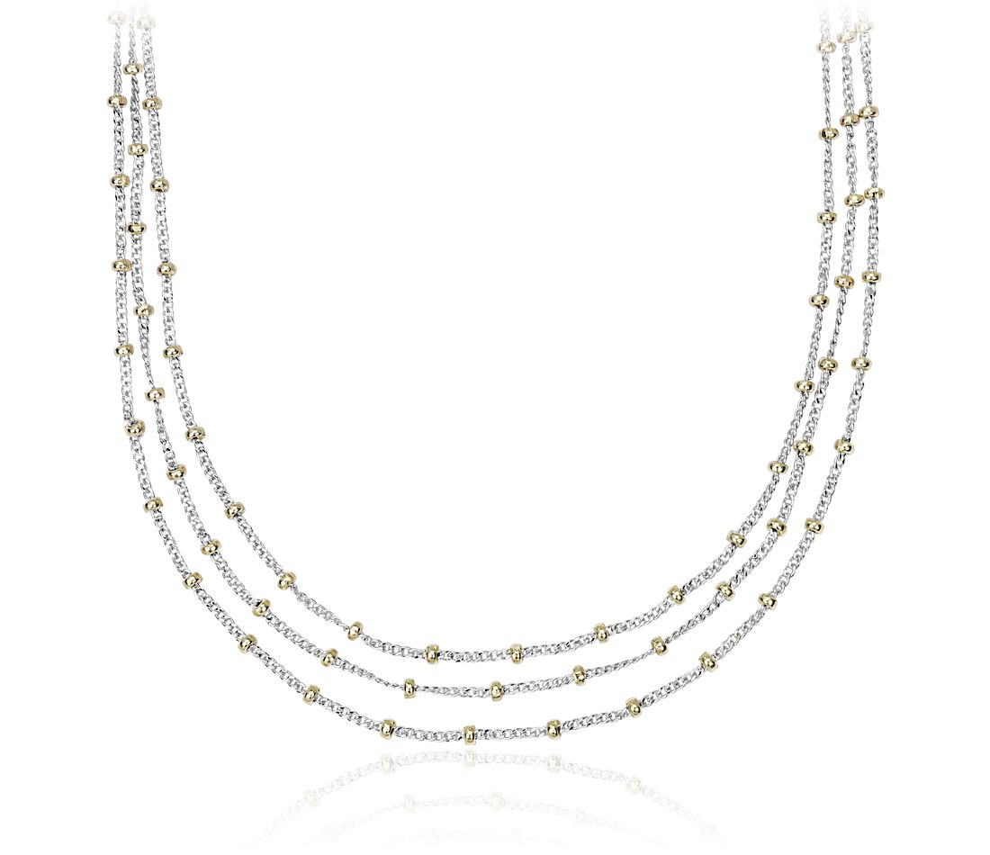 Stationed Bead Layered Bib Necklace in Sterling Silver and 14k Yellow Gold