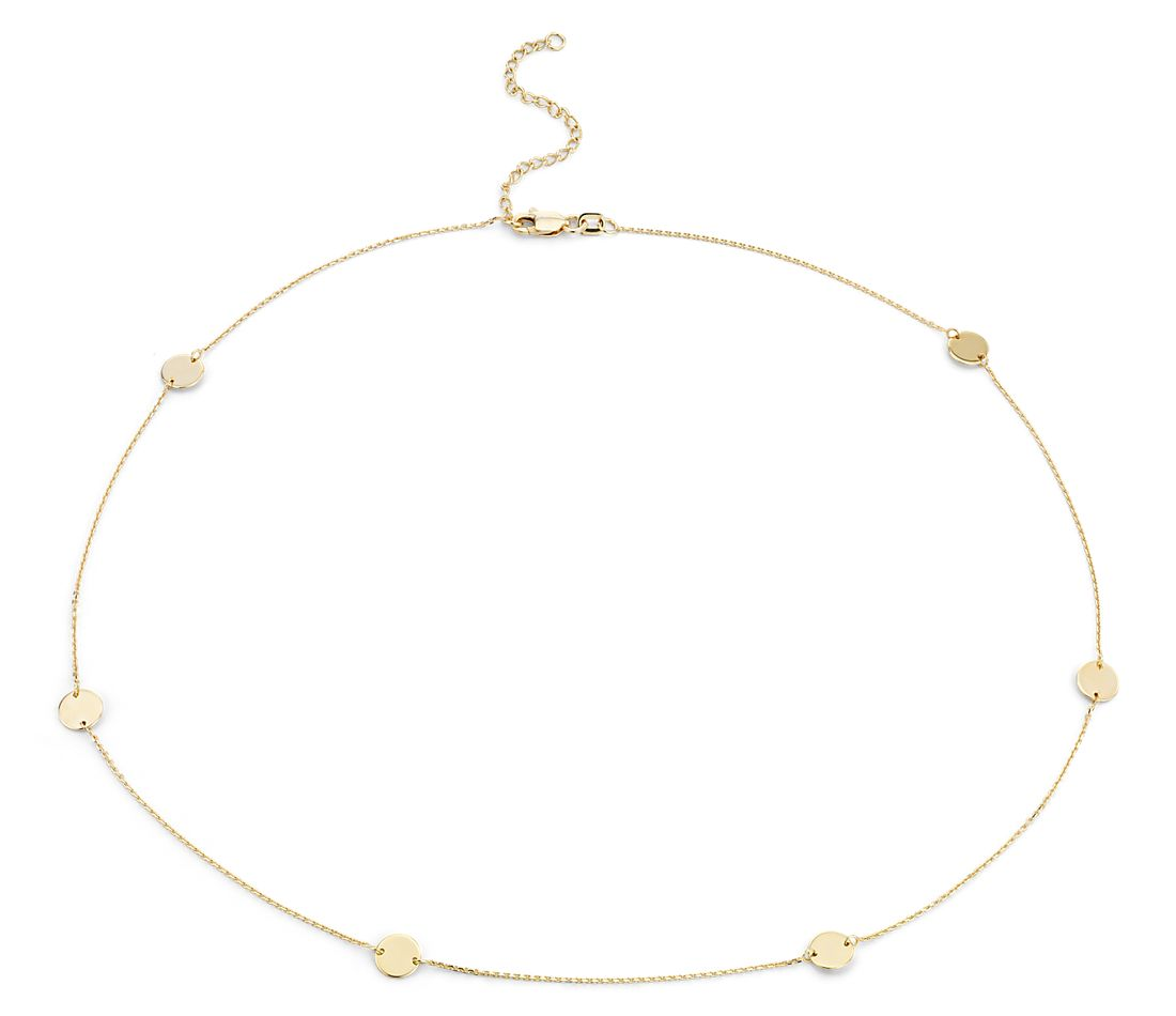 Stationed Disc Necklace in 14k Yellow Gold