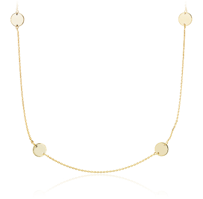 Stationed Disc Necklace in 14k Yellow Gold Blue Nile