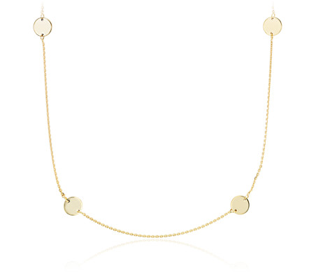 Blue Nile Double Disc Layered Necklace in 14k Yellow Gold EyNvYs