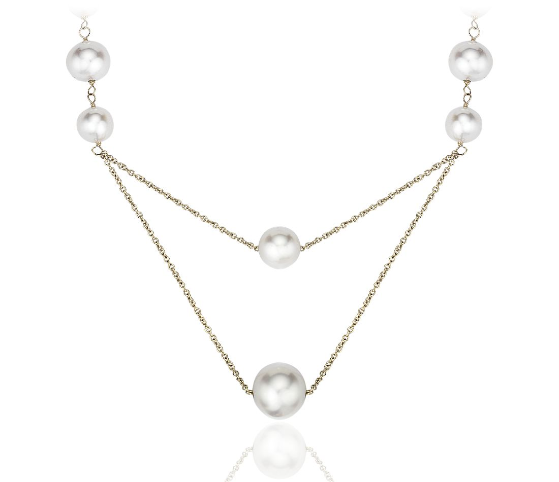 Stationed Freshwater Cultured Pearl Necklace in 14k Yellow Gold (6-10mm)
