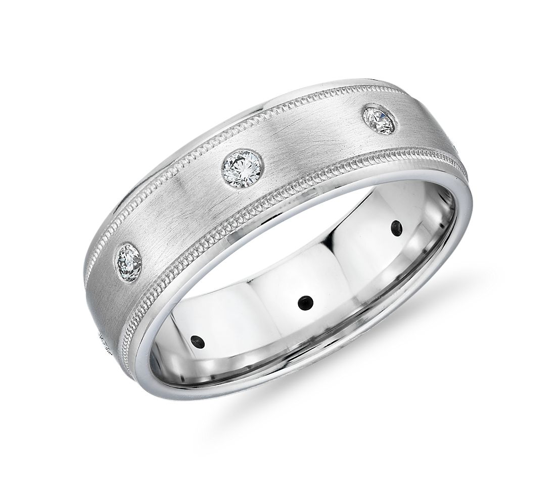 It is just an image of Stationed Milgrain Diamond Eternity Wedding Band in 344k White Gold (344/34 ct. tw.)