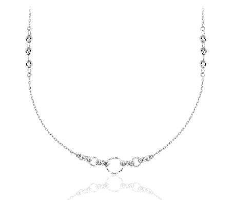 Forever Link Moon Cut Station Necklace in Platinum