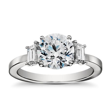 Step Cut Trapezoid Diamond Engagement Ring in Platinum (1/2 ct. tw.)