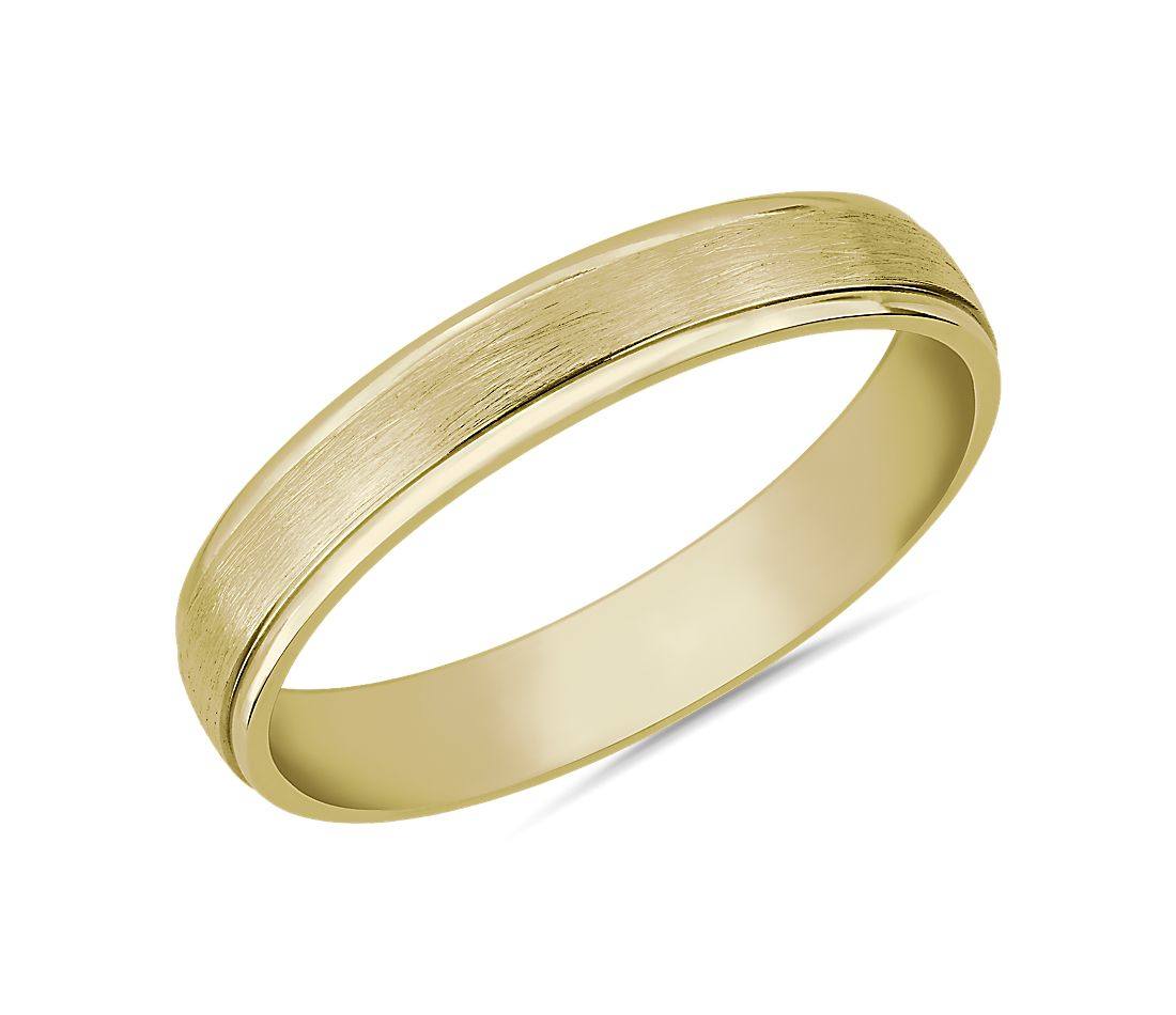 Step Edge Brushed Wedding Ring in 14k Yellow Gold (4mm)