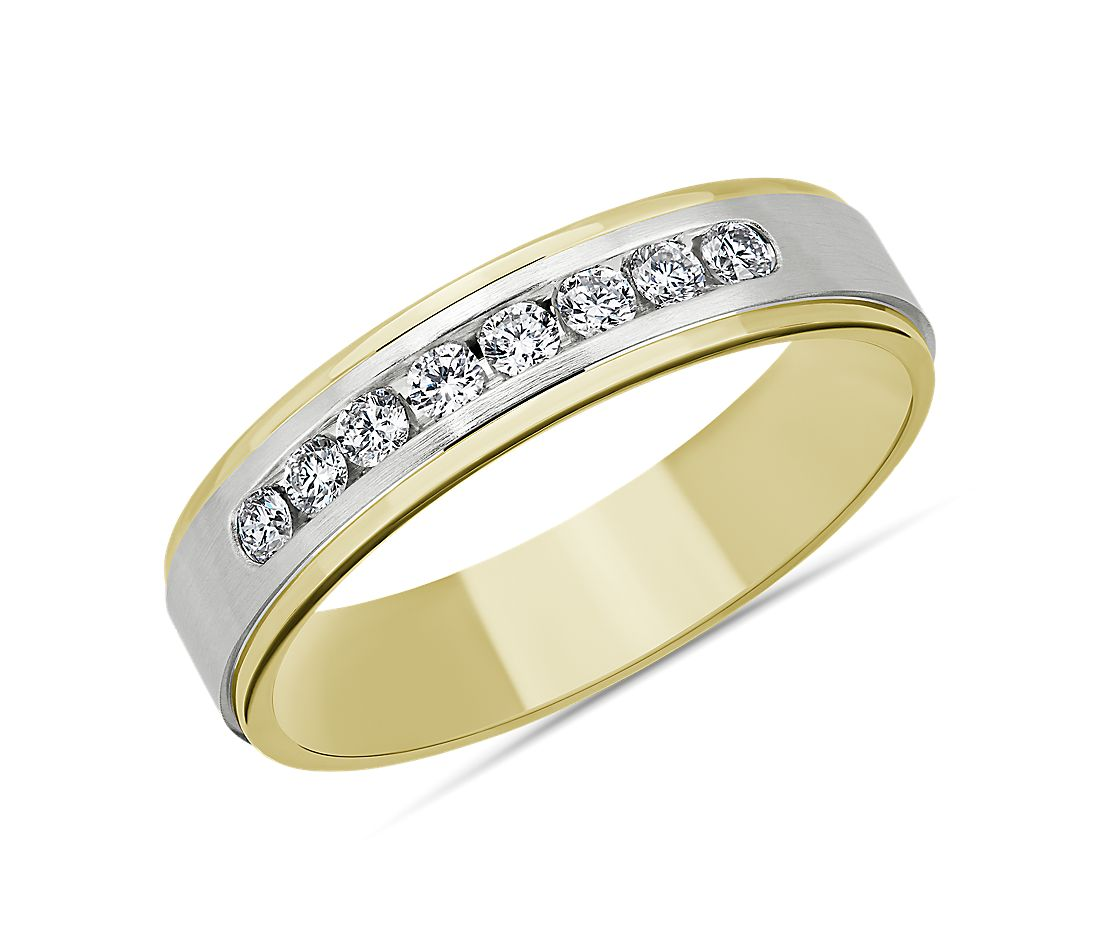 Step-Edge Channel-Set Diamond Wedding Ring in 14k White and Yellow Gold (5mm)