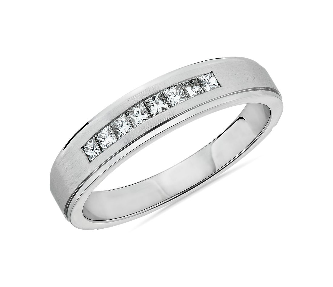 Step Edge Channel-Set Princess-Cut Diamond Wedding Ring in 14k White Gold (5mm)