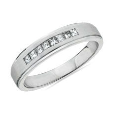 NEW Step Edge Channel-Set Princess-Cut Diamond Wedding Ring in 14k White Gold (5mm)