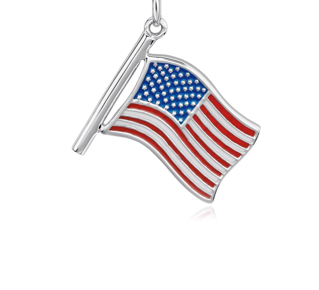 Breloque drapeau américain en argent sterling