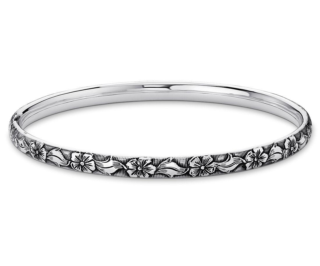 Bracelet jonc floral antique en argent sterling