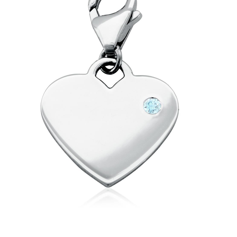 Dije con forma de corazón para piedra natal de aguamarina en plata de ley (Marzo)