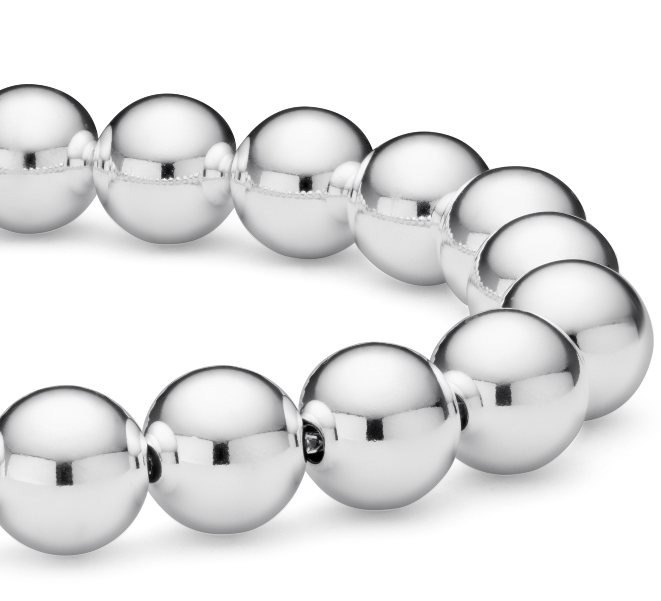 Bead Bracelet in Sterling Silver (10mm)