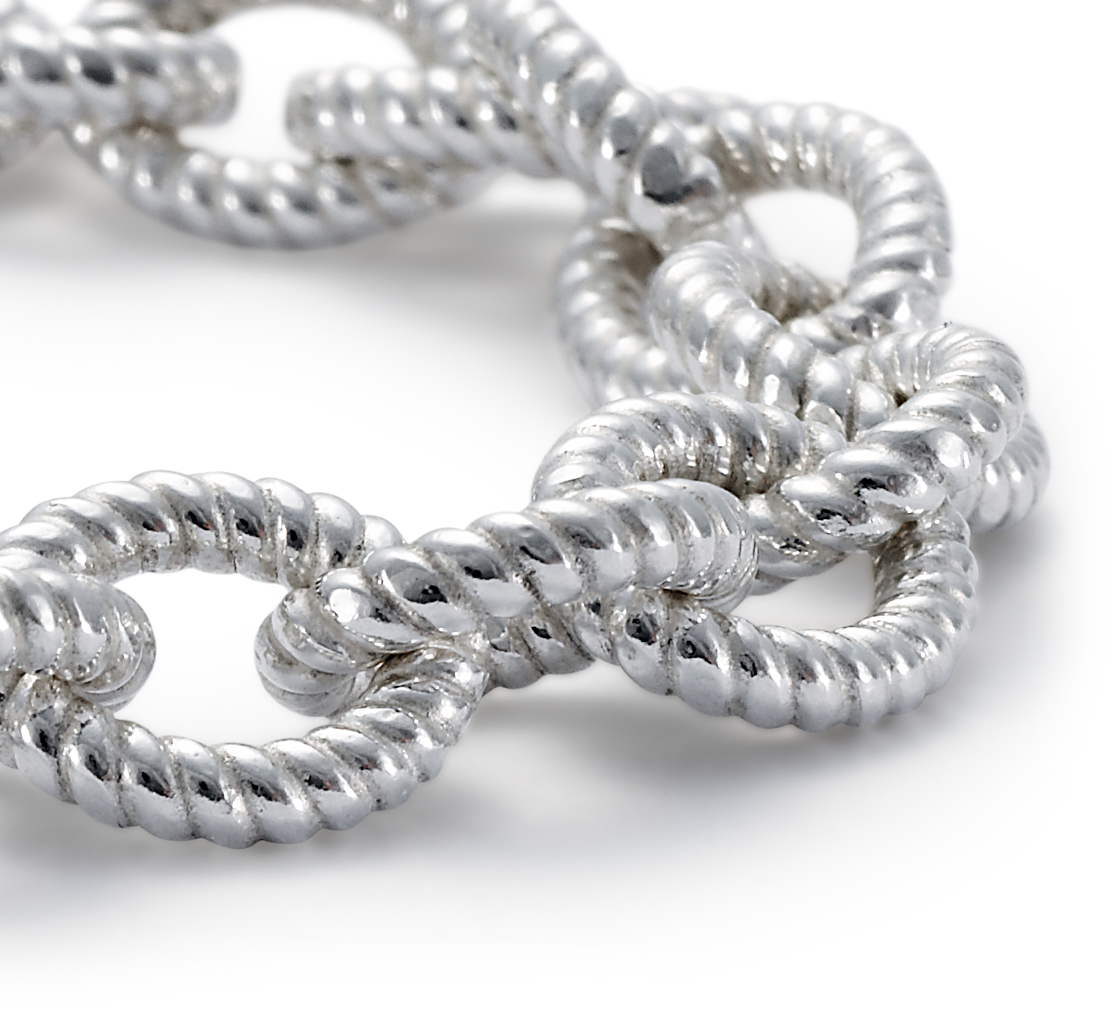 Rope Link Bracelet in Sterling Silver