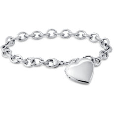 Brazalete con relicario en forma de corazón en plata de ley