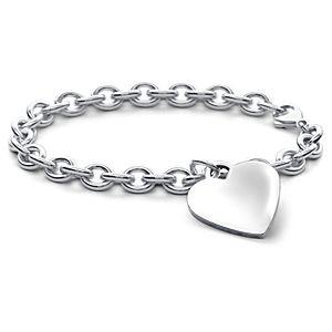 Bracelet médaille cœur enfants en argent sterling (16,5cm)