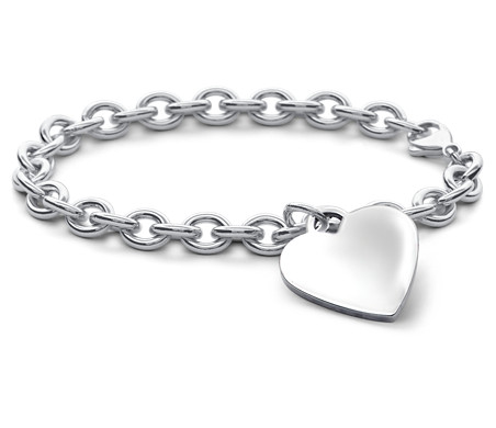 "Children's Heart-Tag Bracelet in Sterling Silver (6 1/2"")"