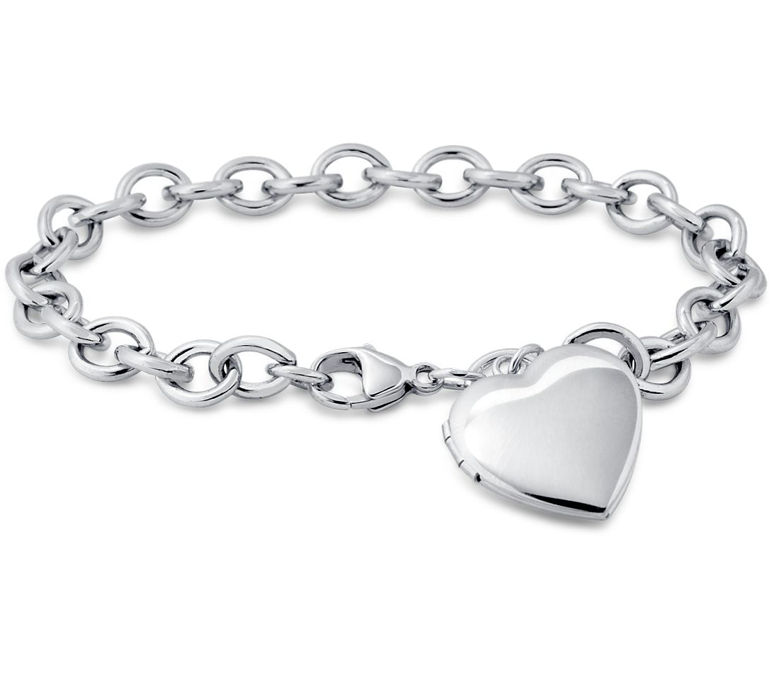 Metal Charm Bracelets: Sweetheart Locket Bracelet In Sterling Silver