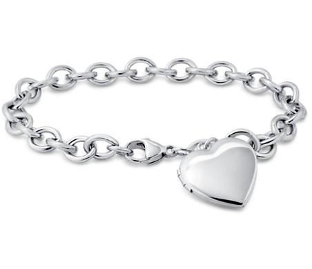 925 纯银甜心盒式吊坠手链