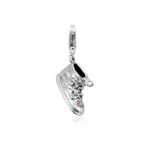 Engravable Pink Sapphire Baby Shoe Charm in Sterling