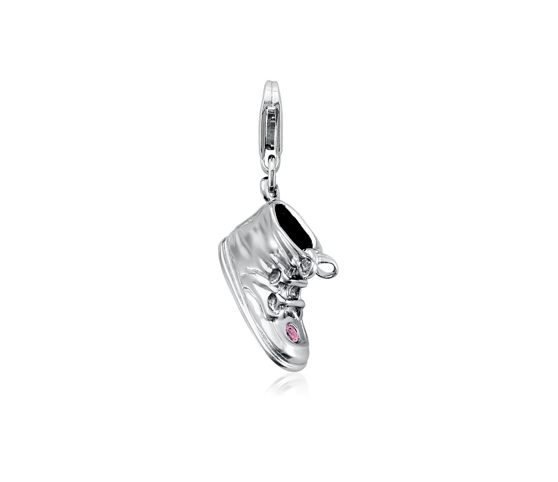 Engravable Pink Sapphire Baby Shoe Charm in Sterling Silver