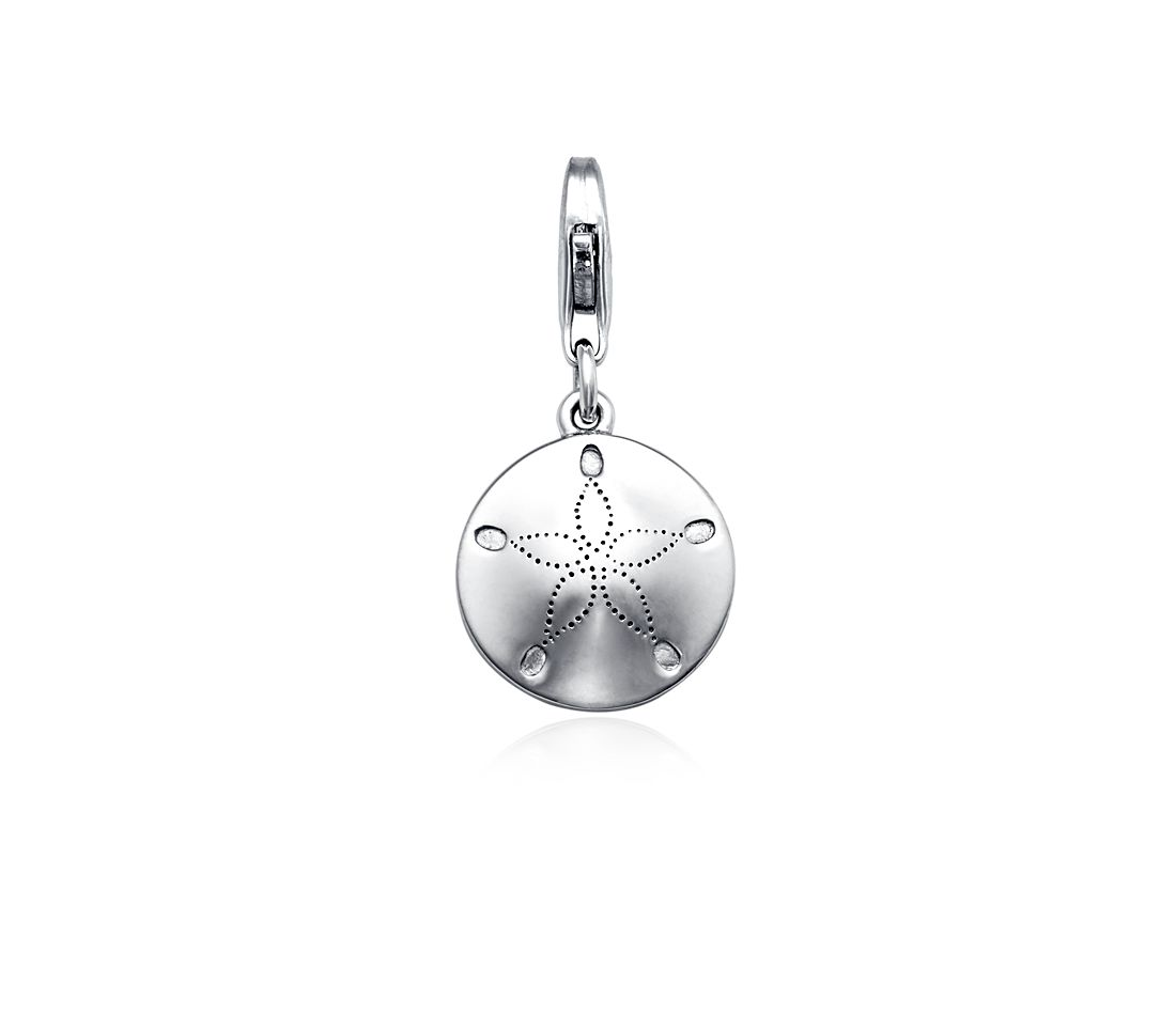 Breloque oursin plat en argent sterling