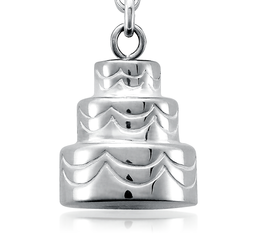 Wedding Cake Charm in Sterling Silver
