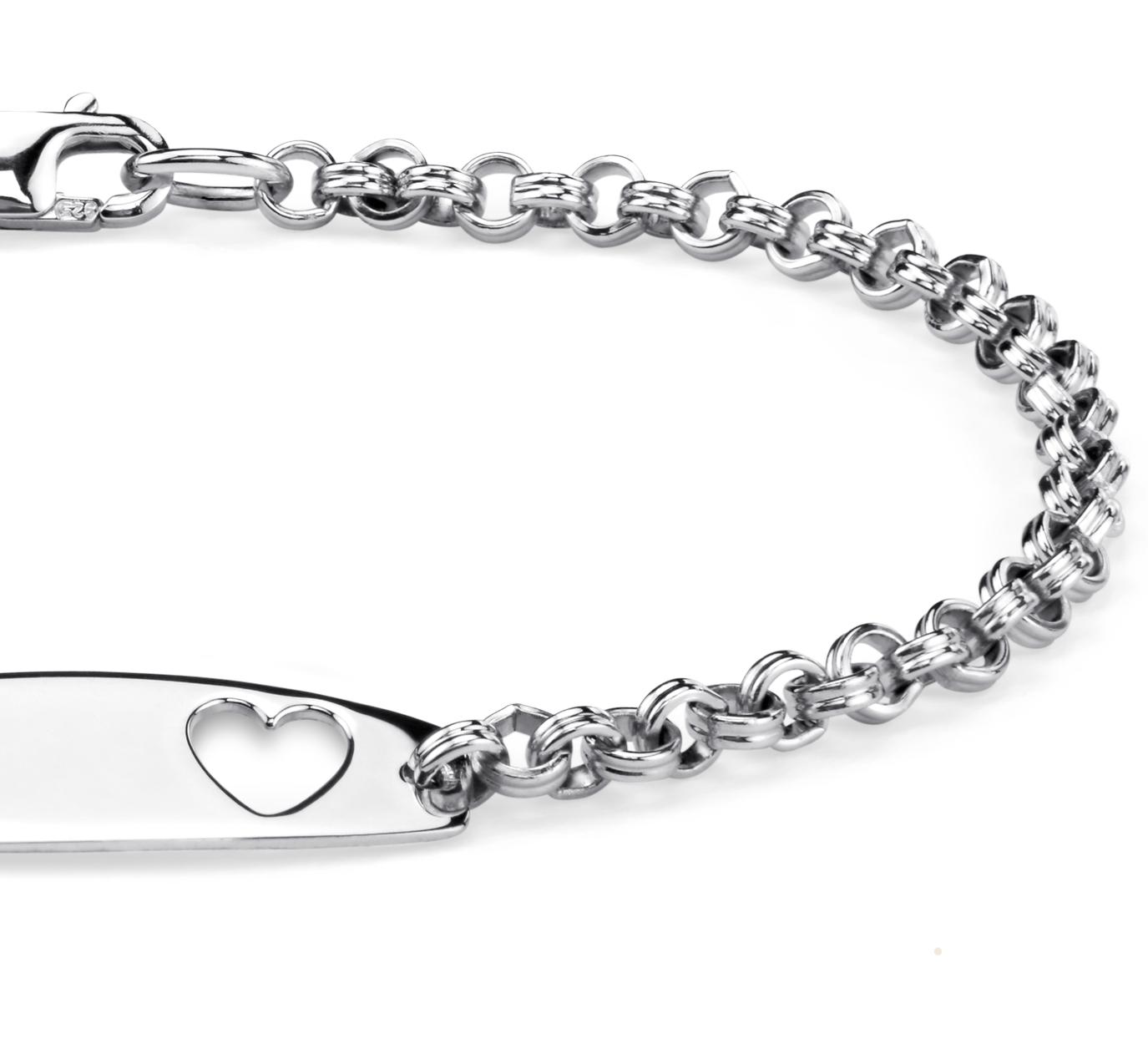 Bracelet identité cœur pour enfant en argent sterling