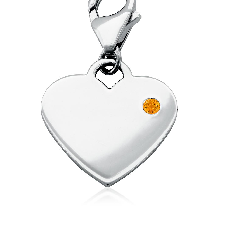 Dije con forma de corazón para piedra natal de cuarzo citrino en plata de ley (Noviembre)