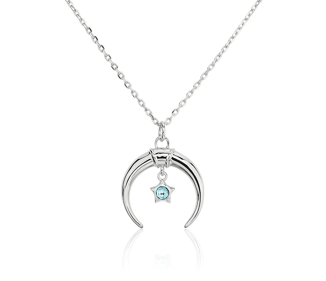 Monica Rich Kosann Sterling Silver Crescent Moon Charm Necklace with Blue Topaz Star