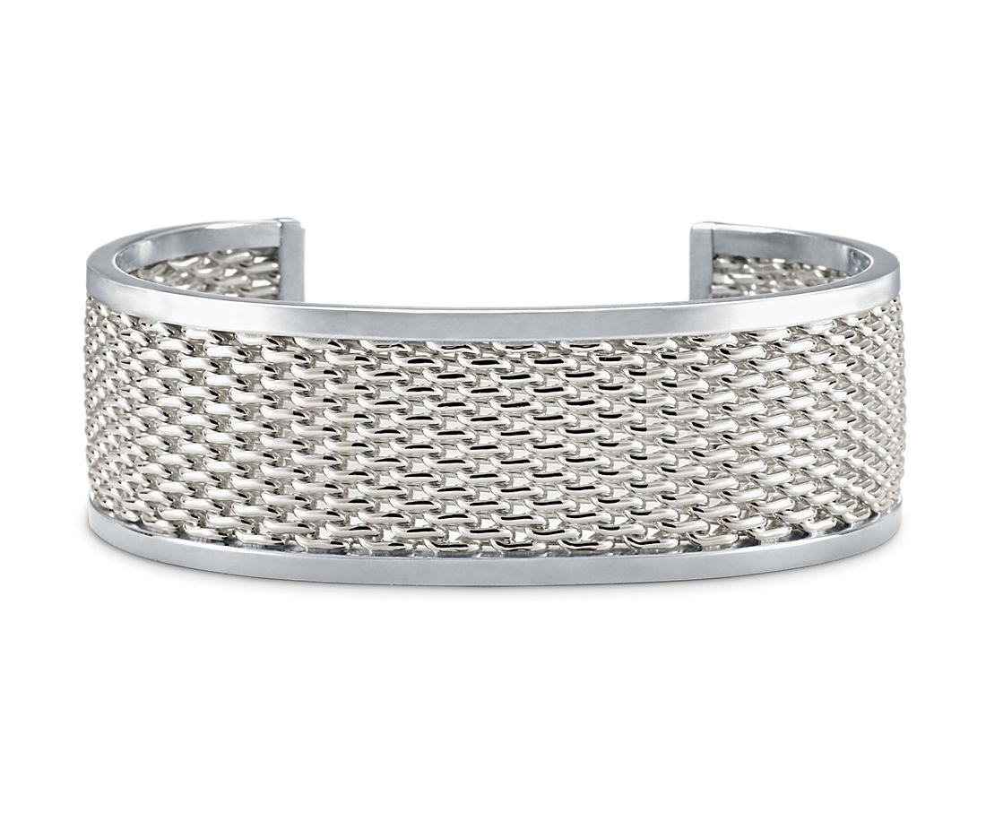 Wide Banded Mesh Cuff Bracelet in Sterling Silver