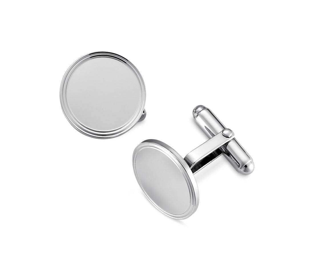 Framed Round Cuff Links in Sterling Silver