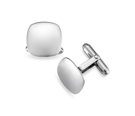 Cushion-Shaped Cuff Links in Sterling Silver
