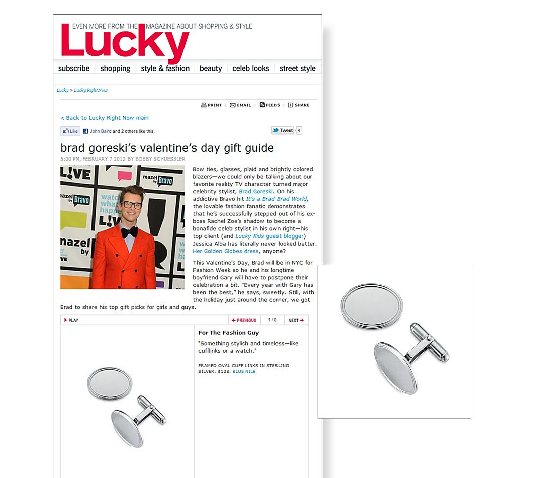 Framed Sterling Silver Oval Cuff Links in Brad Goreski's Gift Guide