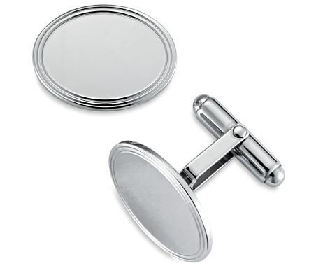包框橢圓 925 純銀袖口鏈扣