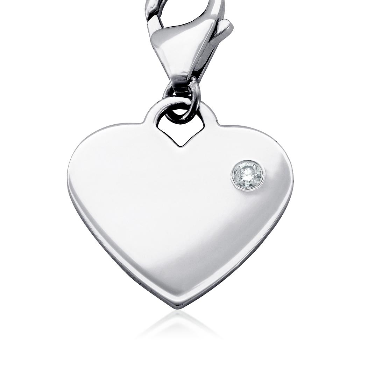 Breloque cœur pierre d'anniversaire diamant en argent sterling (Avril)