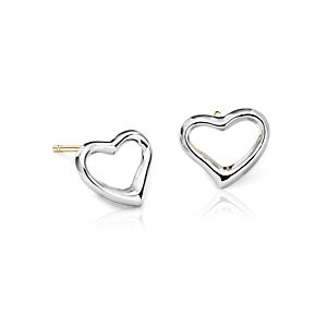 Open Heart Earrings in Sterling Silver with 14k Gold Posts