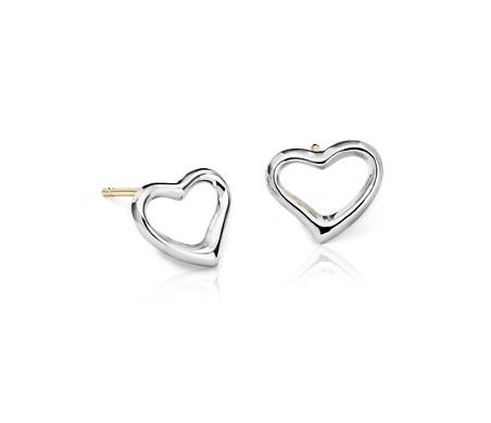 Boucles d'oreilles cœur ouvert en argent sterling avec Broches en or 14carats