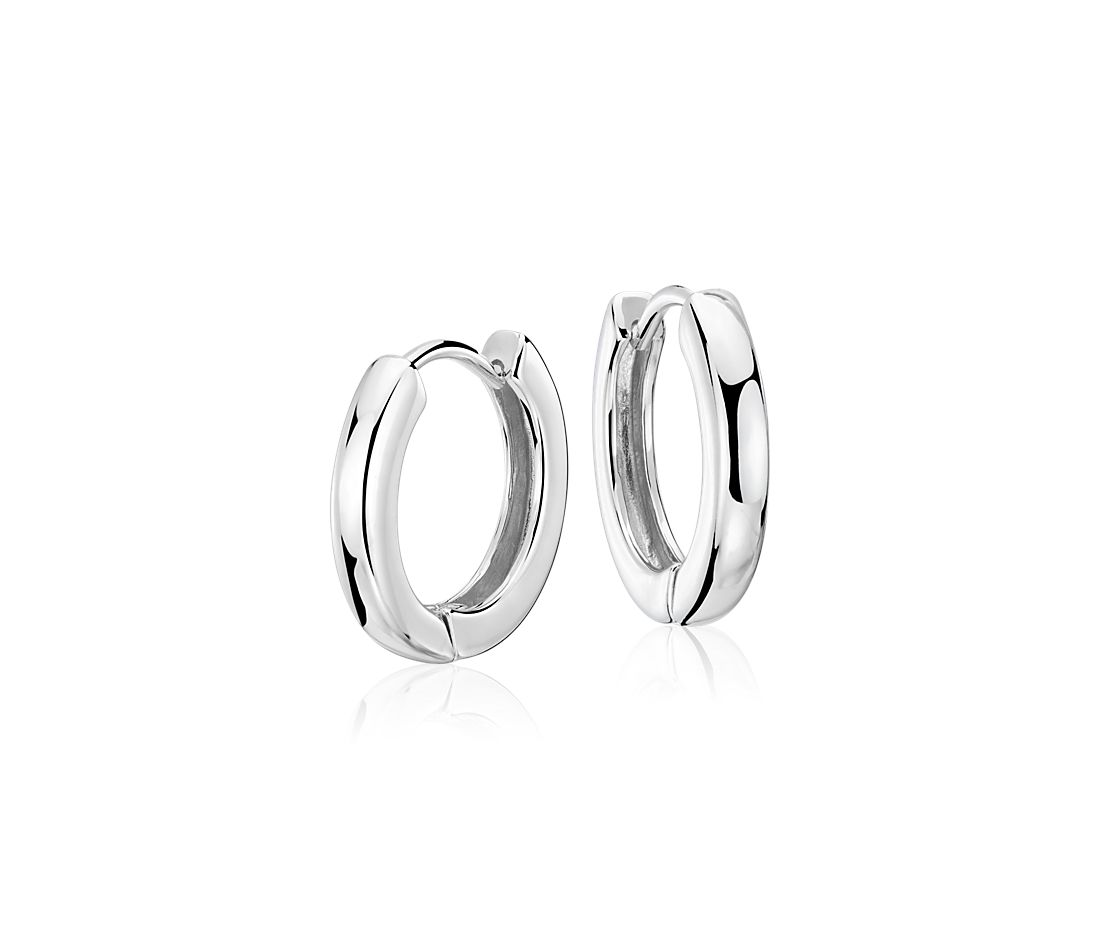"Hinged Hoop Earrings in Sterling Silver (5/8"")"